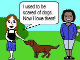 I used to be scared of dogs (used to + verb).
