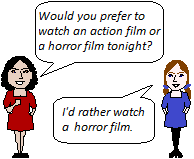 I'd rather watch a horror film (would rather).